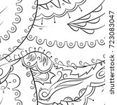 seamless mehndi vector pattern. ... | Shutterstock .eps vector #723083047