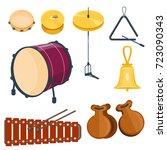 musical drum wood rhythm music... | Shutterstock .eps vector #723090343