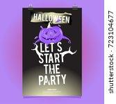 happy halloween poster. vector... | Shutterstock .eps vector #723104677