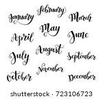 cute brush calligraphy of...   Shutterstock . vector #723106723
