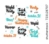 happy halloween lettering set.... | Shutterstock .eps vector #723128707