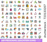 100 preschool education icons... | Shutterstock .eps vector #723133207