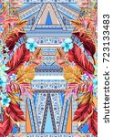 seamless graphical artistic... | Shutterstock . vector #723133483