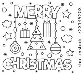 merry christmas. coloring page. ... | Shutterstock .eps vector #723149203