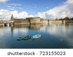 the walled city or ville close... | Shutterstock . vector #723155023