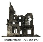 Ruined Building Isolated On...