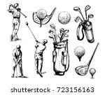 set of golf objects  players ... | Shutterstock .eps vector #723156163