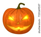carved halloween pumpkins ... | Shutterstock .eps vector #723169537