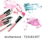 make up brush with colorful... | Shutterstock . vector #723181357