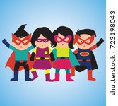super hero with mask and cape... | Shutterstock .eps vector #723198043