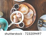 pancakes with ice cream ... | Shutterstock . vector #723209497