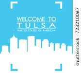 welcome to tulsa skyline city... | Shutterstock .eps vector #723210067
