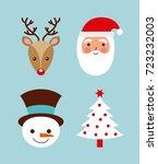 set of christmas santa deer... | Shutterstock .eps vector #723232003
