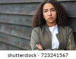 beautiful mixed race african... | Shutterstock . vector #723241567