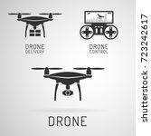 drone icon.  drone delivering... | Shutterstock .eps vector #723242617