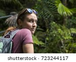 Small photo of Adventurer in a rain forest in Puerto Rico.