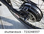 close up of motor electric bike.... | Shutterstock . vector #723248557