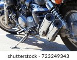 closeup two exhaust pipes and... | Shutterstock . vector #723249343