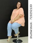 stunning fat girl with velvety... | Shutterstock . vector #723252133