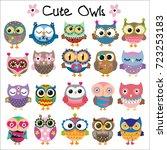 set of cute cartoon owls on a...   Shutterstock .eps vector #723253183