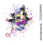 opossum watercolor illustration....   Shutterstock . vector #723259093