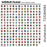 isometric circle flags of world | Shutterstock .eps vector #723284083
