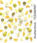 vertical composition of fruits...   Shutterstock . vector #723286987