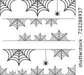 halloween set of border cobweb...   Shutterstock .eps vector #723288937
