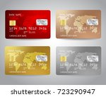 realistic detailed credit cards ...   Shutterstock .eps vector #723290947