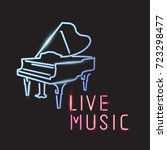 live music sign with piano icon ... | Shutterstock .eps vector #723298477