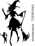 dancing witch with broom and... | Shutterstock .eps vector #723301963