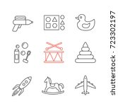 kids toys linear icons set.... | Shutterstock .eps vector #723302197