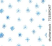 blue watercolor snowflake...   Shutterstock . vector #723309247