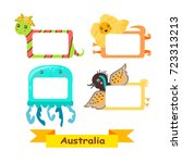 cute animal labels. frames with ... | Shutterstock .eps vector #723313213