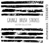set of black brush strokes  ink ... | Shutterstock .eps vector #723316873