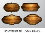 wooden signs  vector icon set | Shutterstock .eps vector #723318193
