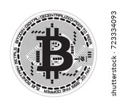 crypto currency black coin with ... | Shutterstock .eps vector #723334093