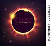 sun eclipse cosmic vector...   Shutterstock .eps vector #723336397