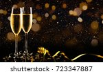 two glasses of champagne with... | Shutterstock . vector #723347887