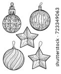 christmas balls illustration ... | Shutterstock .eps vector #723349063