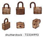 Set Of Old Lock Isolated On...