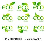 set of eco friendly organic... | Shutterstock .eps vector #723351067