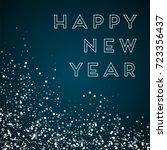 random falling white dots happy ... | Shutterstock .eps vector #723356437
