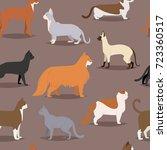 different cat breeds cute kitty ... | Shutterstock .eps vector #723360517