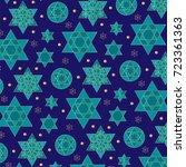 blue gold jewish star... | Shutterstock .eps vector #723361363