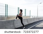 outdoors workout. side view of... | Shutterstock . vector #723372277
