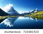 reflection of matterhorn in...   Shutterstock . vector #723381523