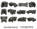 truck military camouflaged... | Shutterstock . vector #723382993