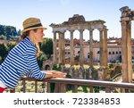 roman holiday. happy elegant...   Shutterstock . vector #723384853
