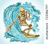 dead surfer skeleton on the... | Shutterstock .eps vector #723386797